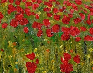 Detail from Poppy Field in Argenteuil by Claude Monet